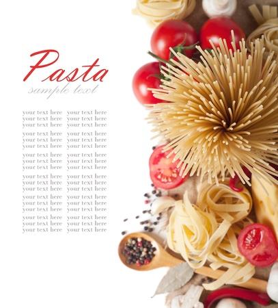 italian foods: italian pasta with tomato, cheese and mushrooms
