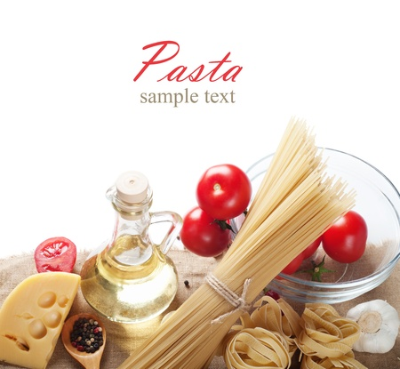italian pasta with tomato and cheese  photo