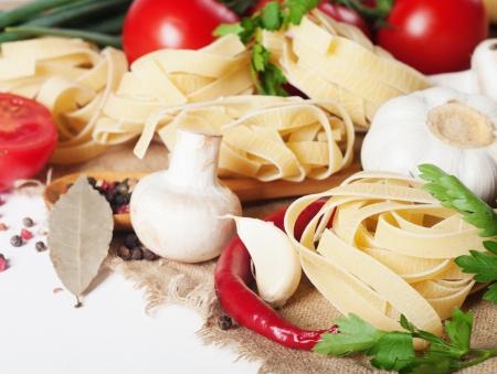 pasta with tomato and mushrooms  photo