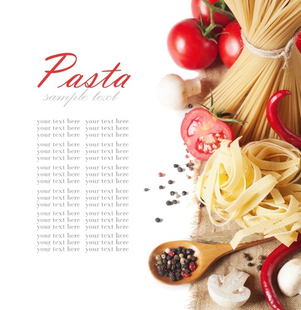 italian pasta with tomato and mushrooms  photo