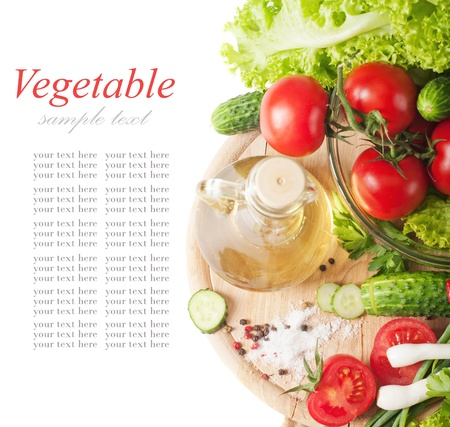 fresh vegetables and oil