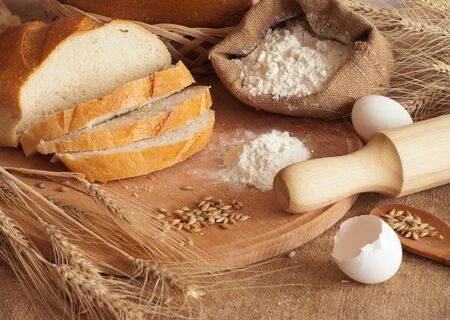 fresh bread and wheat spikelets Stock Photo - 14526286
