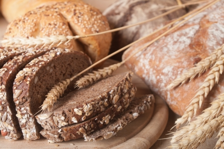 processed food: assortment of baked bread  Stock Photo