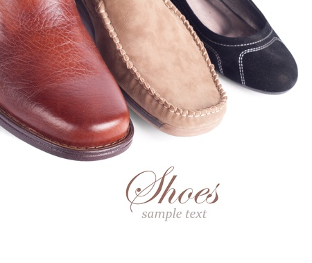 Row of  shoes isolated on the white Stock Photo - 16023930