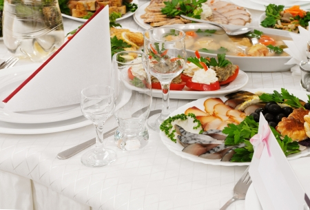 Catering food at a wedding party - a series of RESTAURANT images.  Stock Photo