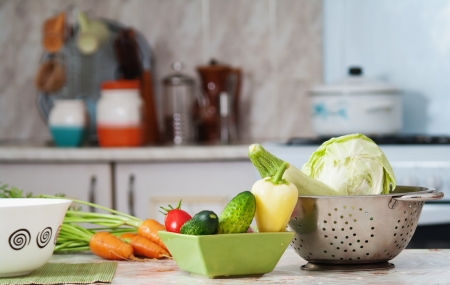 counter top: healthy vegetables in the kitchen