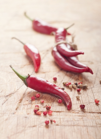 cayenne: red chili pepper on wooden table. Selective focus