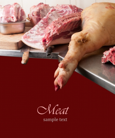 butcher's shop: various pieces of meat on a cutting table