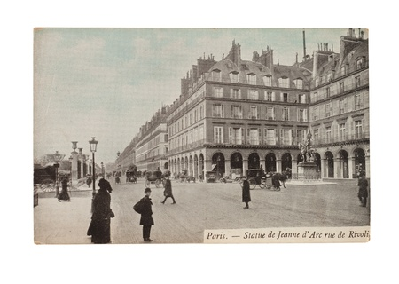 rivoli: FRANCE - CIRCA 1905  A postcard printed in France shows image of a statue Jeanne d