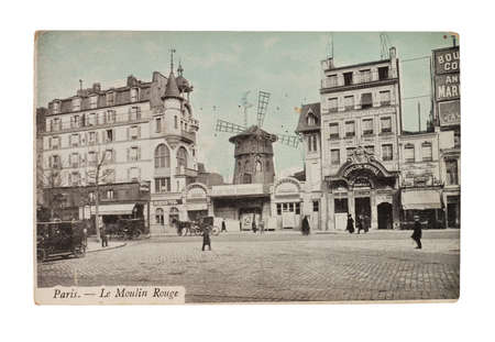 french cafe: FRANCE - CIRCA 1905  A postcard printed in France shows image of a Moulin Rouge series, circa 1905   Editorial