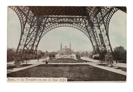 old fashioned sepia: FRANCE - CIRCA 1905  A postcard printed in France shows image of a Eiffel Tower series, circa 1905