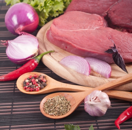 butcher's shop: different Indian spices and meat  Stock Photo