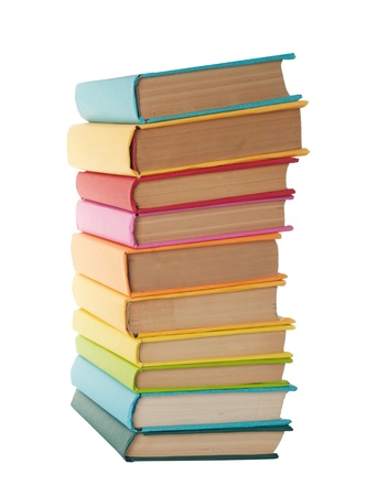 close up of stack of colorful books on white background Stock Photo - 18149667