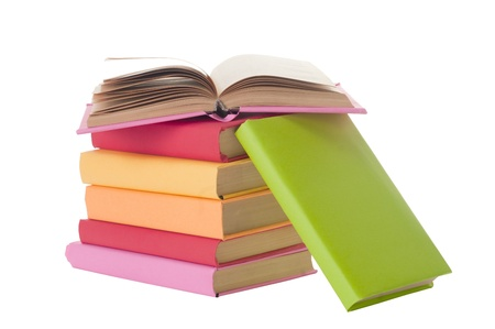 school things: close up of stack of colorful books on white background, with clipping path included  Stock Photo