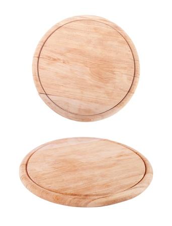 bandeja de madera para carne y vegetales sobre fondo blanco Foto de archivo