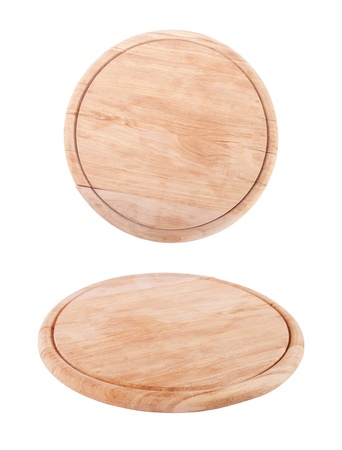 timber cutting: wooden  tray for meat and vegetable on white background