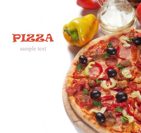 pizza slice: Tasty Italian pizza
