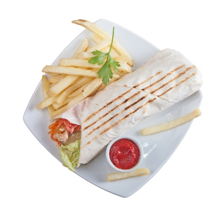 kebab sandwich with french fries  photo