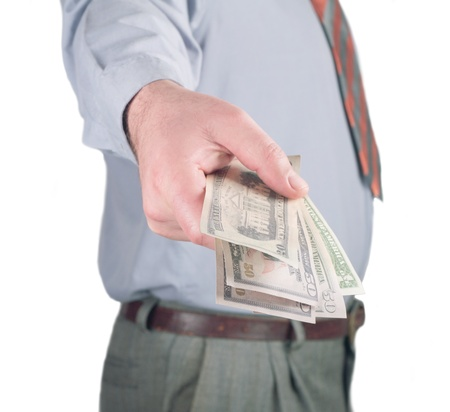 hombre de negocios dando un dinero Foto de archivo - 18166192
