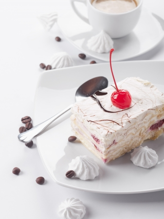 cherry cake and coffee cup  photo