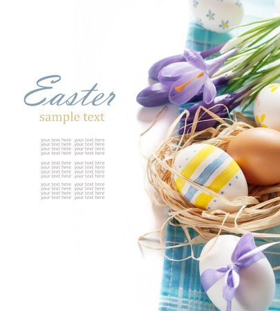 easter eggs with spring flower on white background Stock Photo