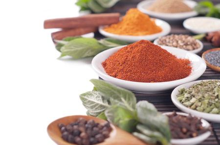 curry powder: Various spices selection. Stock Photo