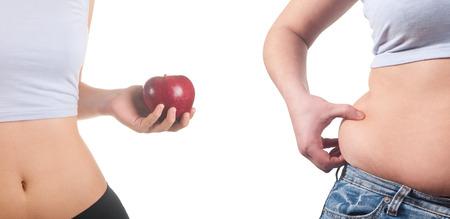 mujer gorda: mujeres gordas y delgadas Foto de archivo