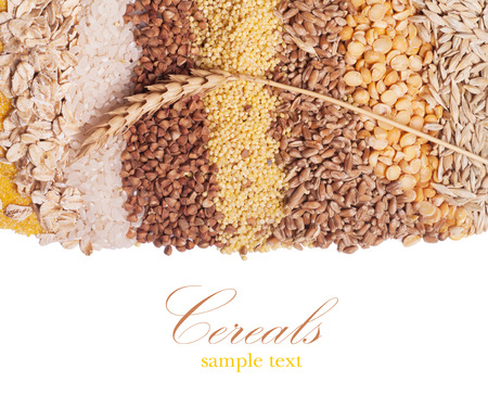 Cereals collection isolated on white background Imagens