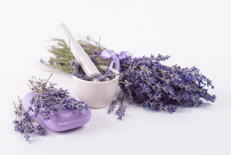 soap sud: Soap and Lavender flowers