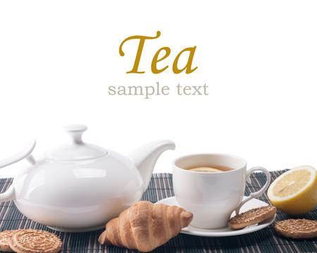 tarde de cafe: naturaleza muerta con taza de té y la vida cookiesstill con la taza de té y galletas Foto de archivo