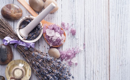wooden aromatherapy: Soap and Lavender flowers. Spa elements.