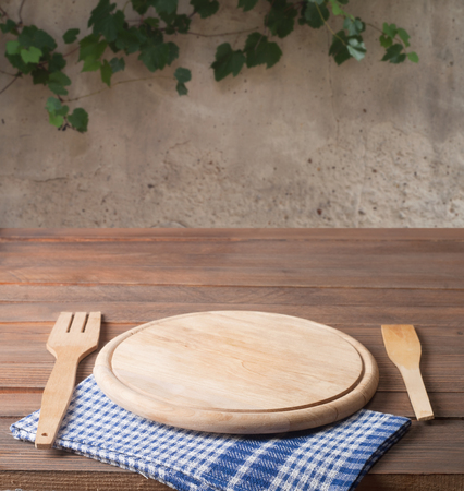 place mat: Empty tray on tablecloth on wooden table Stock Photo