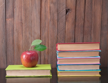 Books on a wooden  background. photo