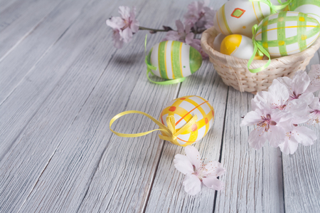 easter eggs with spring flower