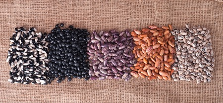 Beans - red pointed, black, pinto beans photo