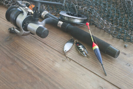 tackle: Fishing Tackle background Stock Photo