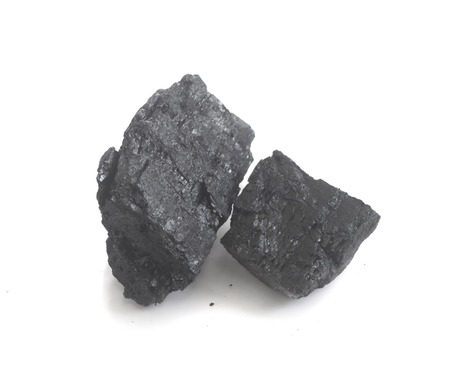 anthracite coal: Coal on Isolated White Background Stock Photo