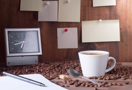 coffee on the background sticky note paper photo