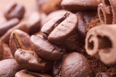 Closeup  coffee beans at roasted coffee heap. photo