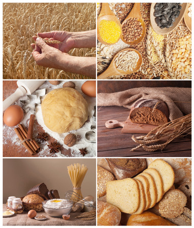 Set of traditional bread, wheat and cereal photo