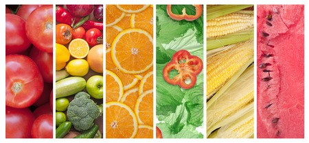 set of different fruits and vegetables photo