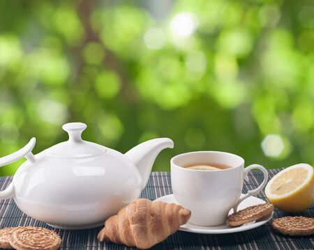 yellow tea pot: tea cup and  cookies on nature background