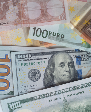 eur: Two leading hard currencies - US Dollar and Euro Stock Photo