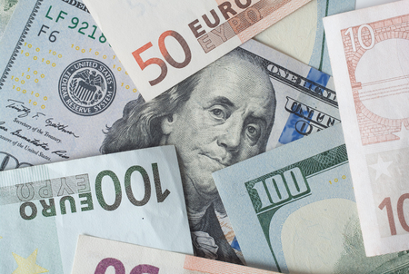 50 dollar bill: Two leading hard currencies - US Dollar and Euro Stock Photo