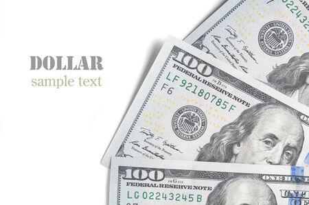 ben franklin money: one hundred dollar bill closeup on white background