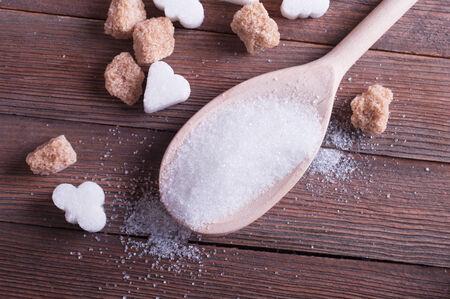 brown sugar: white and brown sugar close-up