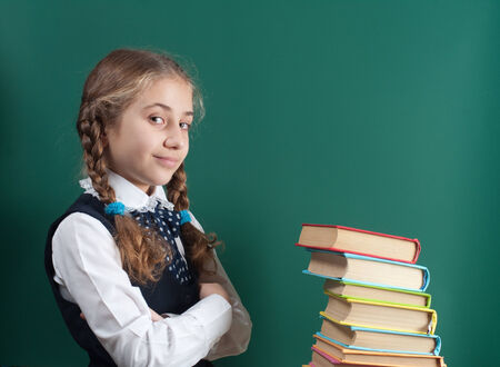 schoolgirl with a book on the background of the school board photo