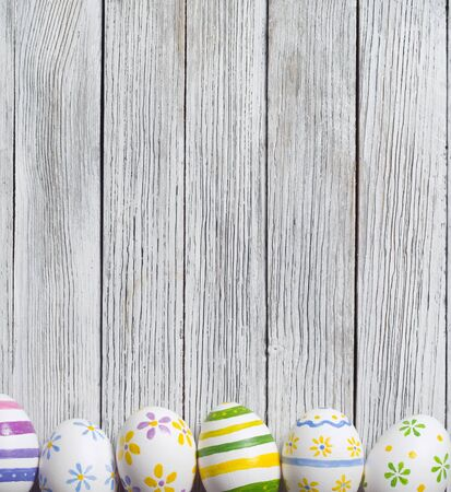 natural pattern: Easter eggs  on wooden background