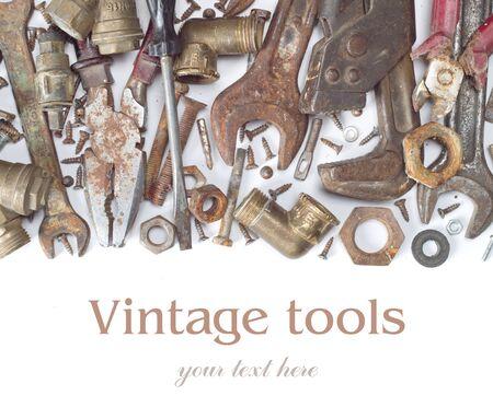 Grunge tools isolated on white background photo