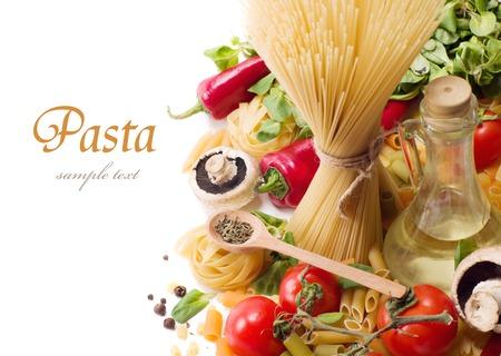 italian pasta with tomato and mushrooms photo